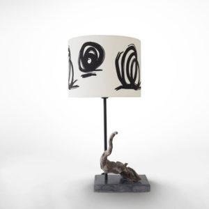 pied de lampe en béton ciré et bois flotté vue principale
