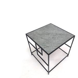 Table litho en métal et feuille de pierre