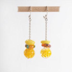 boucles d'oreilles en verre filé jaunes