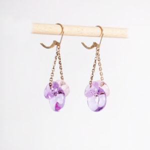 boucles d'oreilles en verre filé roses et mauves
