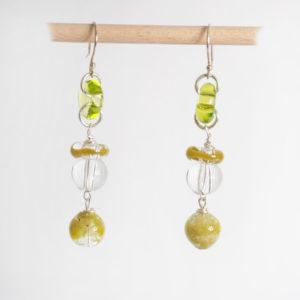 boucles d'oreilles en verre soufflé vertes