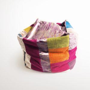 pouf patchwork lin coton