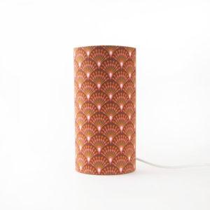 lampe tube en tissu imprimé art deco orange