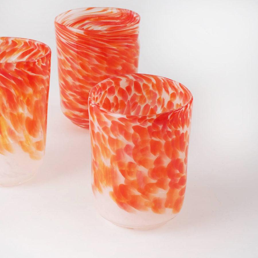 verres flammés en verre soufflé